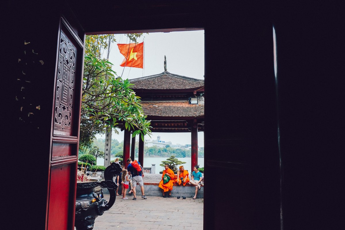 View through red temple door