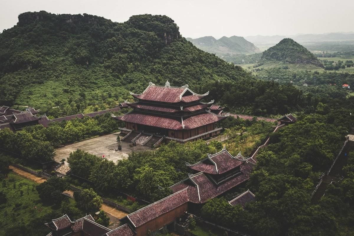 Vietnam temple nestled in forests and mountains