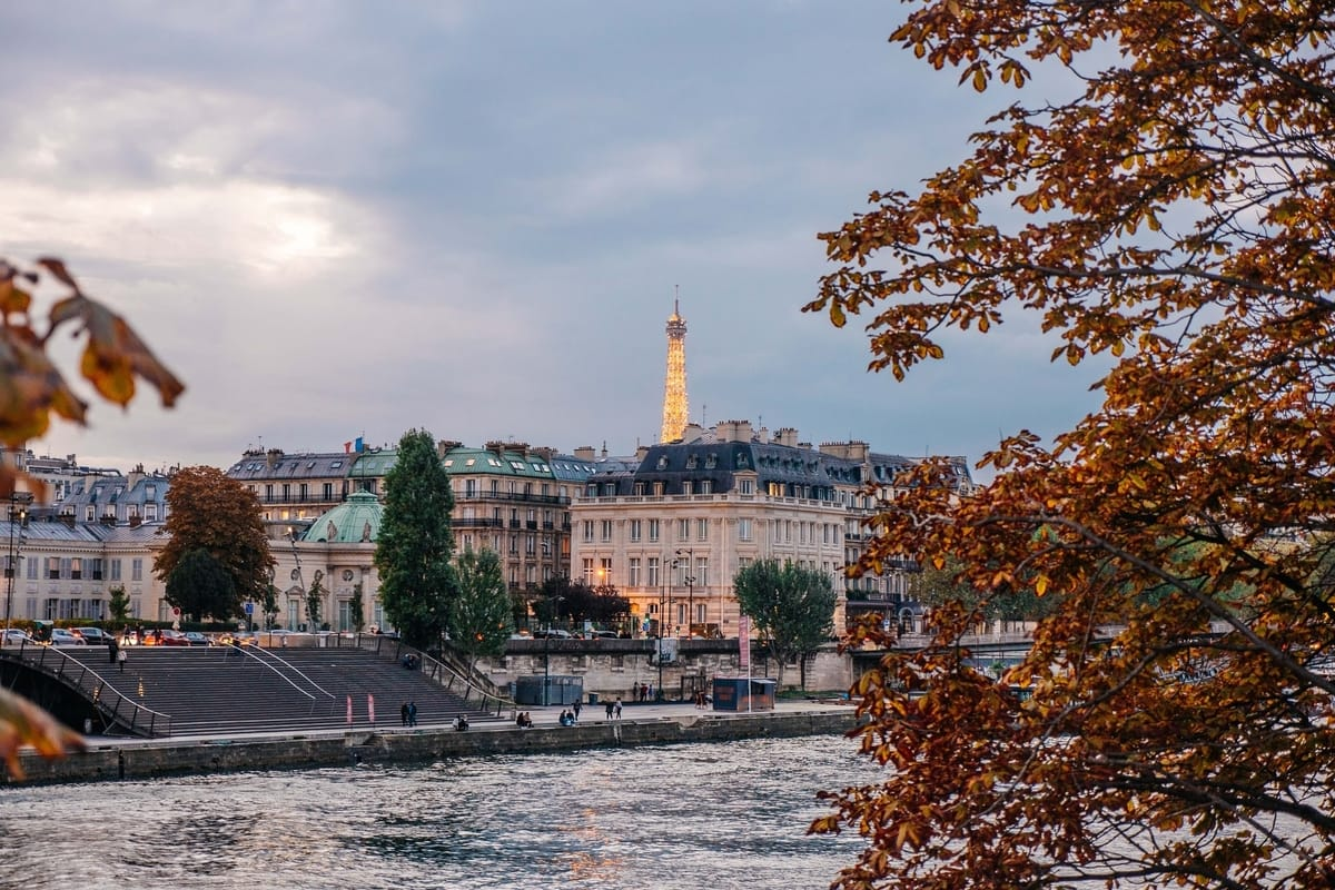 Eiffel Tower and Seine River in Fall