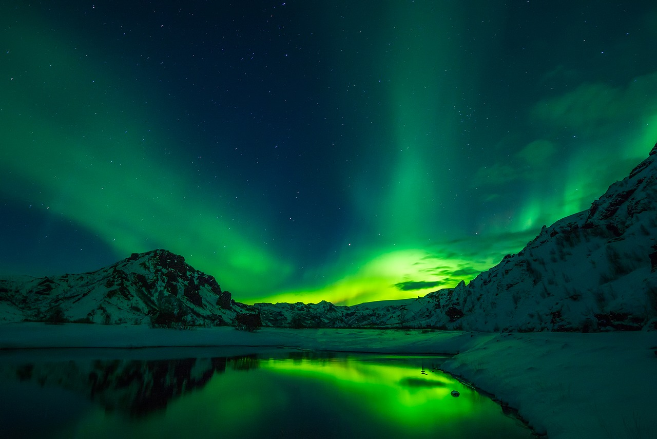 Northern Aurora Lights With Green Hue Above A Mountain Range