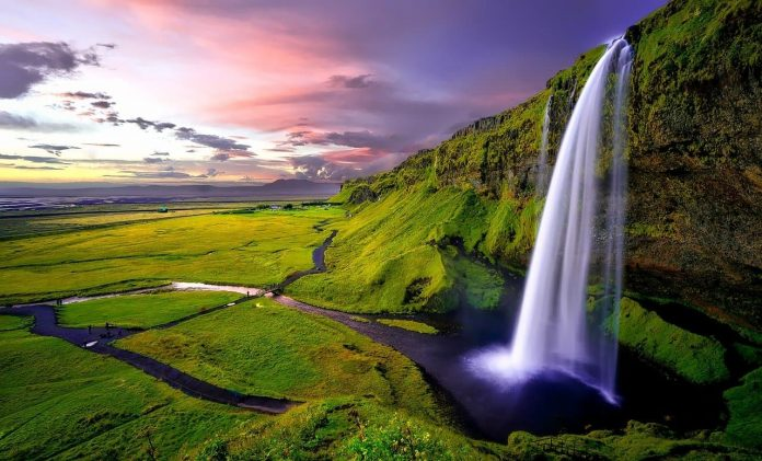 Seljalandsfoss Waterfall Against A Lush Green Landscape In Iceland