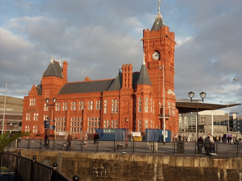 red clock tower cardiff