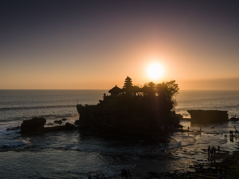 sunset at Tanah Lot Temple in Bali