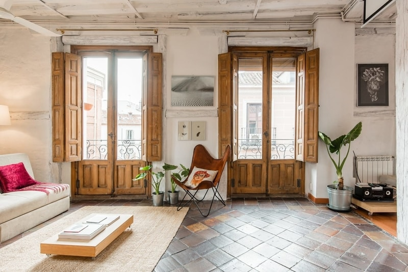 apartment with glass doors in Madrid Spain