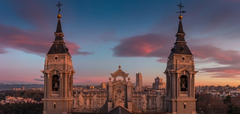 Top of buildings in Madrid Spain beautiful architecture