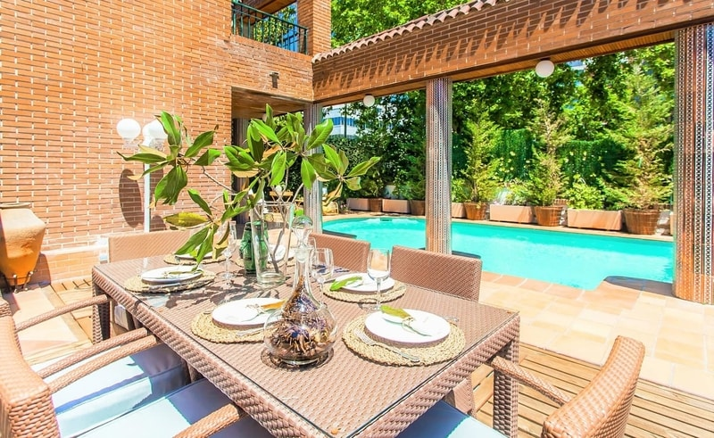 luxury home with leafy garden and pool in Madrid Spain