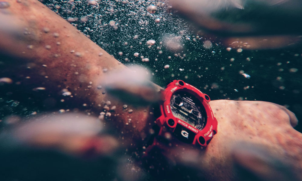 Red diving watch